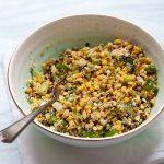 A bowl of street corn salad